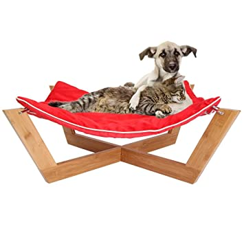 jumbl deluxe large bamboo cat   dog hammock   pet lounge   bed   features up amazon     jumbl deluxe large bamboo cat   dog hammock   pet      rh   amazon