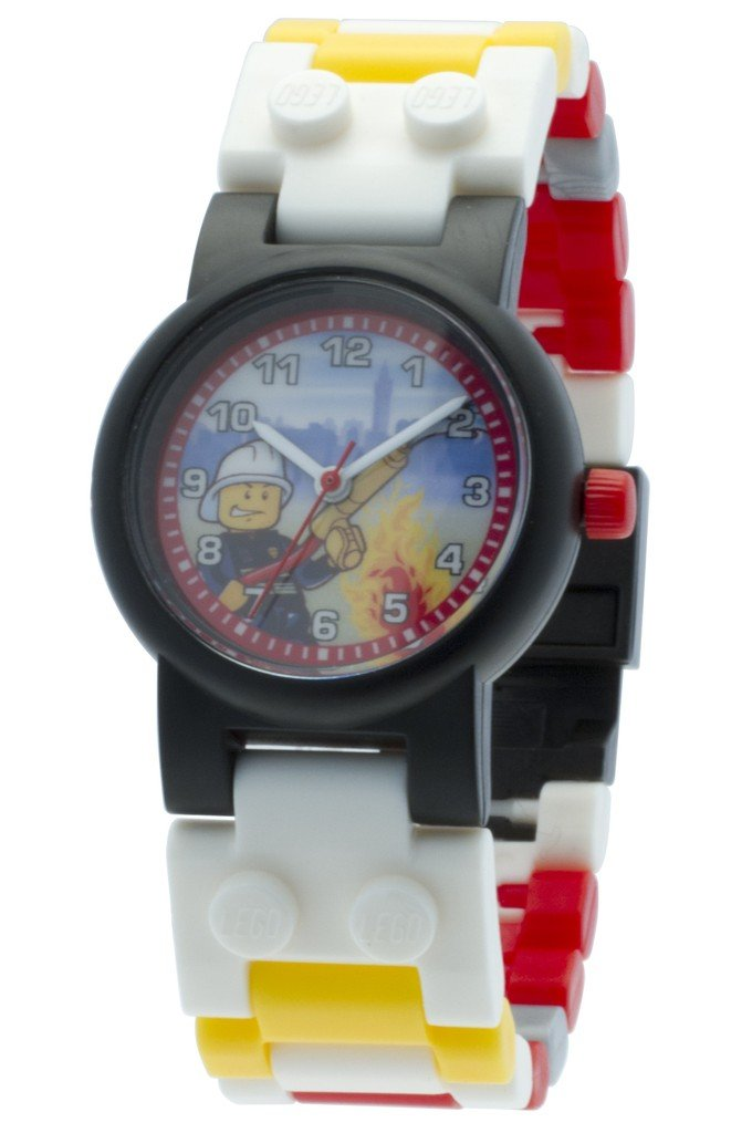 LEGO City 8020011 Fireman Kids Buildable Watch with Link Bracelet and Minifigure | red/Yellow | Plastic | 25mm case Diameter| Analogue Quartz | boy Girl | Official