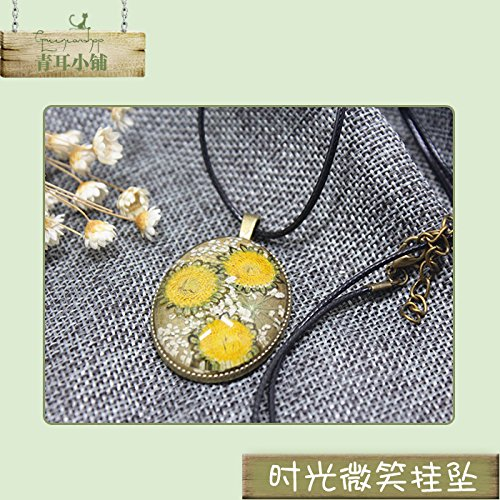 Wind Sen women girls Exquisite handmade dried flowers necklace pendant gem time immortal creative sunflower plant specimens sweater chain