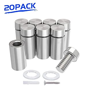 """1/2"""" Dia Standoffs 1"""" Length Sign Standoff Mounts, Stainless Steel Glass Standoff Screw Wall Standoffs Holder Advertising Nails Brushed Finish, Set of 20"""