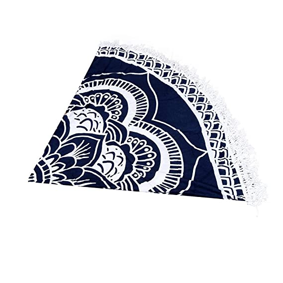 Amazon.com: YULong Round Beach Towel 150cm Polyester Beach Towel Adults Tablecloth Toalla Playa Mandala Serviette De Plage Table Cloth (Color: Navy Blue): ...