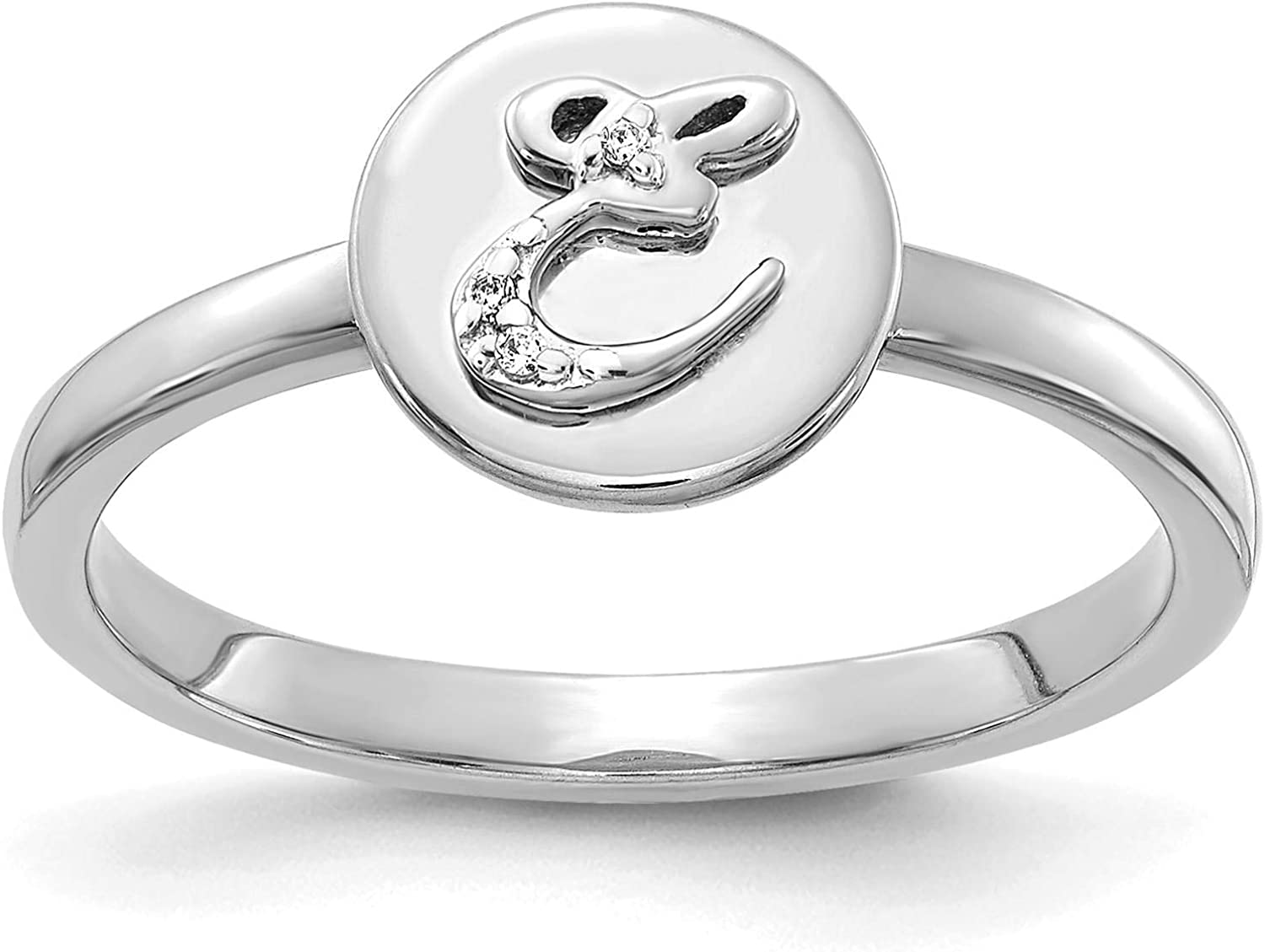 14k White Gold w//Diamond Accent Initial Letter E Ring Size 7