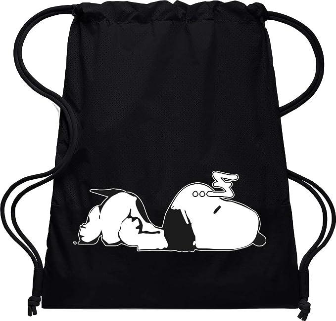 Camisetas EGB Bolsa Mochila Snoopy ochenteras 80´s Retro (Negro)