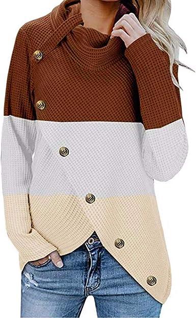 Reooly Moda Mujer otoño e Invierno Costura de Cuello Alto botón Multicolor Camisa de Manga Larga Jersey Camisa suéter cálido: Amazon.es: Ropa y accesorios