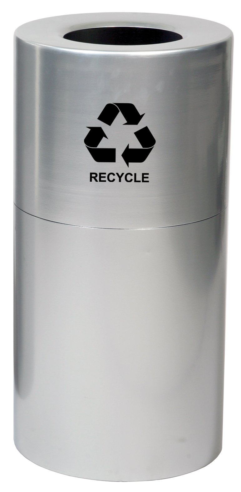Witt Industries AL18-CLR-R Aluminum 24-Gallon Decorative Recycling Receptacle with Rigid Plastic Liner, Legend ''Recycle'', Round, 15'' Diameter x 30-1/2'' Height, Clear Coat by Witt Industries