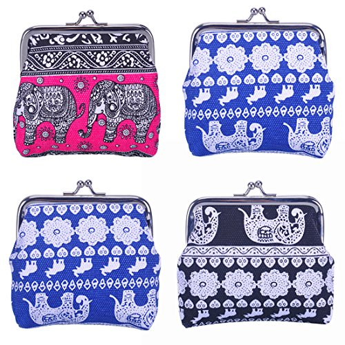Oyachic 4 Packs Coin Purse Mini Wallet Cute Key Pouch Canvas Elephant with Clasp