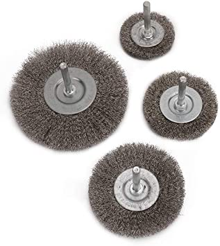 Paint Crimped Stainless Steel Flat Wire Brush Drill Attachment with 6mm Round Shank Polishing Wheel for Removal of Rust Corrosion and Polishing Metal 38-75mm Dia,Pack of 4