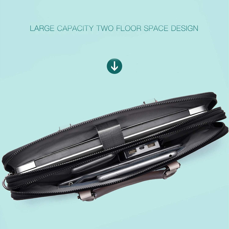 Waterproof Pu Leather Laptop Bag Case Women Shoulder Laptop Bag 13 13.3 14 15 15.6 Inch for MacBook Air Pro Handbag,Black,15.6