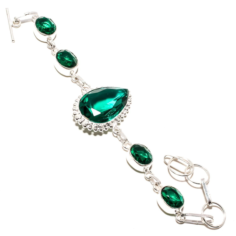 SF-1122 Adjustable and Flexible Length-Link Chain Bracelet Stunning Green Tourmaline Gemstone Bracelet Handmade 925 Sterling Silver Plated Jewelry