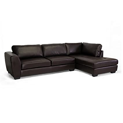 Baxton Studio Orland Bonded Leather Modern Sectional Sofa Set with Right  Facing Chaise, Brown
