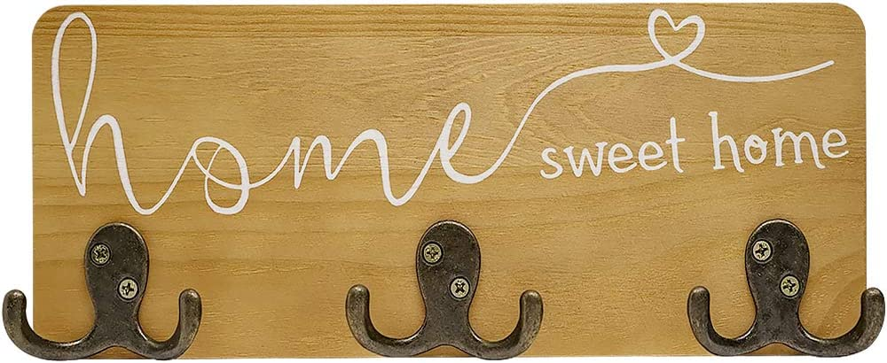 Home Sweet Home Rustic Key Holder for Wall, Pine Wood Farmhouse Key Hanger for Wall Decoration with 3 Dual Metal Hooks for Entryway 11.8x4.6 Inches