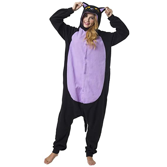 Katara-(10+ Modelos Kigurumi Pijamas Disfraz de Animal Halloween Carnaval, Adultos, Color gato negro, Talla 175-185cm (1744)