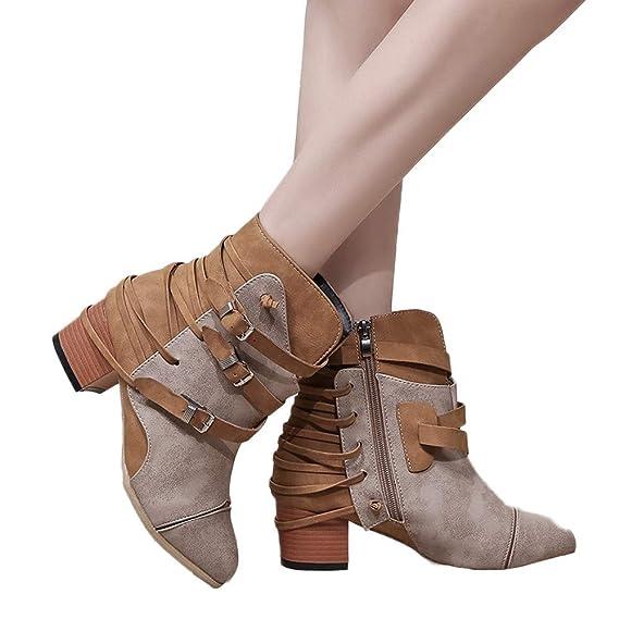 Mujer Invierno Moda Calentar Botas,JiaMeng Botas de Cuero con Correa de Hebilla de tacón Retro Retro Botas de Cremallera Zapatos de Punta Redonda Botas de ...