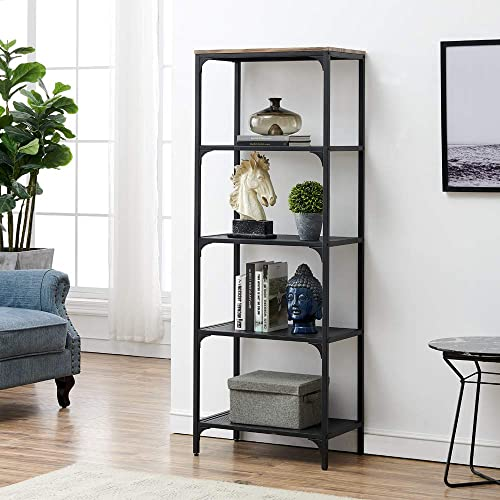 HOMYSHOPY 5-Tier Industrial Open Bookcase and Book Shelf, Shelving Unit Storage Display Rack Mesh Shelf Home Bathroom Organizer, 1-PC