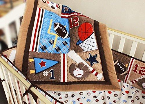 NAUGHTYBOSS Baby Bedding Set Cotton 3D Embroidery Baseball Football Sports Equipment Pattern Quilt Bumper Bed Skirt Mattress Cover 7 Pieces Set Blue Patchwork