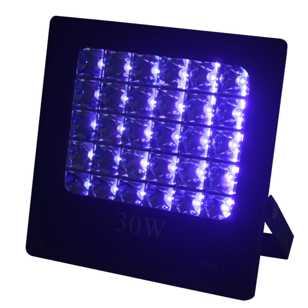 WOWTOU 30W 385nm UV LED Black Lights, Waterproof Flood Light for Neon Glow Blacklight Party Supplies, Fluorescent Paints and Posters, Fishing, Aquarium Lighting, Curing, Cleaning, Indoor and Outdoor