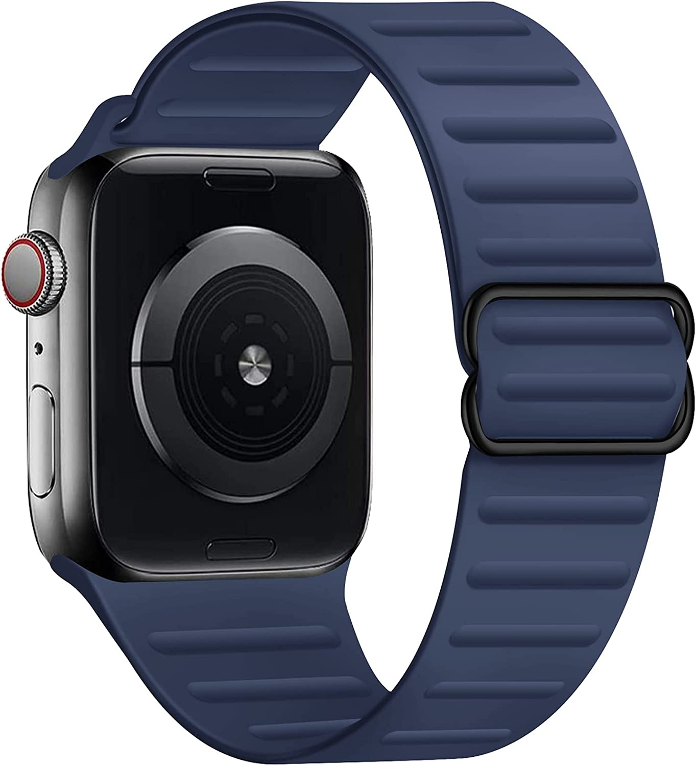 GZ GZHISY Stretchy Solo Loop Band Compatible for Apple Watch 38mm 40mm 42mm 44mm, Adjustable Elastic Silicone Sport Buckle Strap Women Men for iWatch Series 1/2/3/4/5/6/SE, Midnight Blue 42mm/44mm