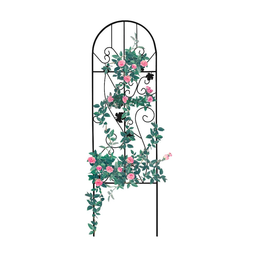 Garden Trellis for Vines and Climbing Plants, Black Metal Wire Lattice Grid Panels for Cucumber Vegetables, Clematis Support, Rose Vines, Durable Sturdy Beautiful Plant Decor