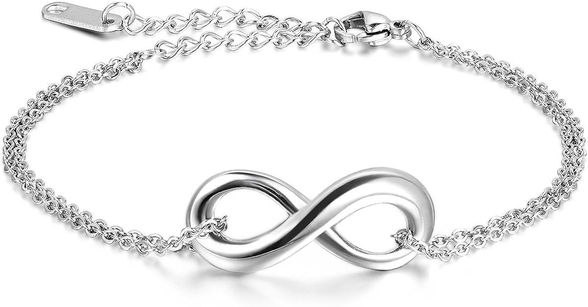 JewelryWe Joyería Pulsera Hombres Mujeres, Infinity Infinity Acero Inoxidable, Plata Grande (con Bolsa de Regalo)