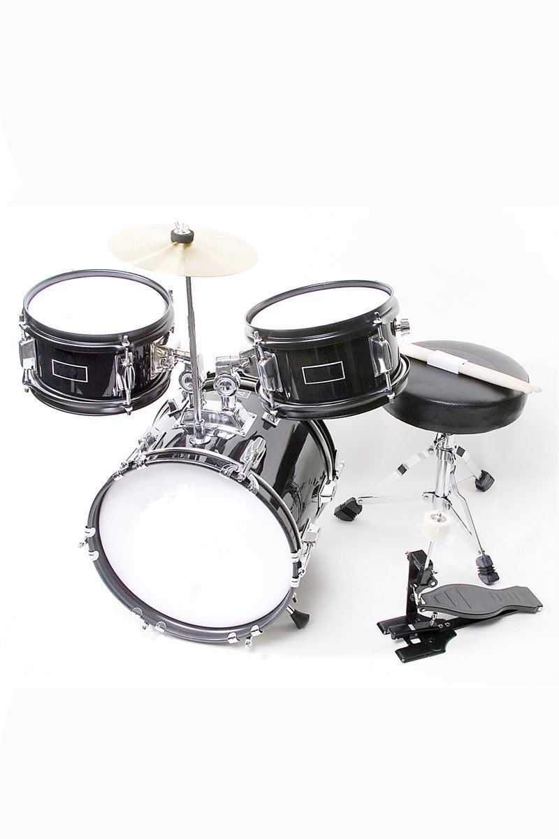 Premium Children's Junior Beginners Black 3 Piece 12 Inch Drum Set with Chair, Sticks, Stool, Adjustable Tuning Key, Pick + Free Lessons