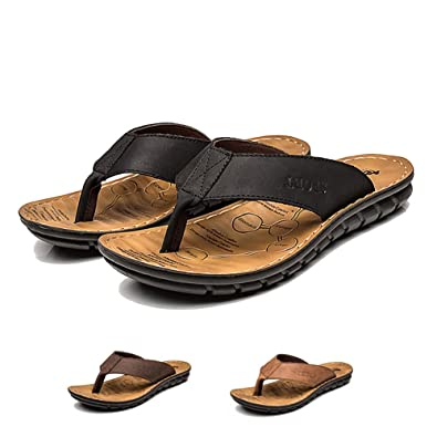 e51b4ad12b7 INFLATION Men s Summer Leather Sandals Casual Thong Slippers Flip-Flops  Outdoor Beach