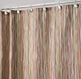 "mDesign Thin Stripe Fabric Shower Curtain, 72"" x 72"" - Earthtone Multi"