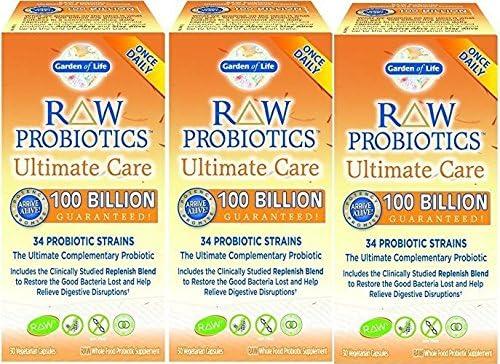 Amazon Com Raw Probiotics Ultimate Care 100 Billion Garden Of Life 30 Vcaps 30 X 3 Health Personal Care