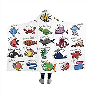 Wearable Sleeping Blankets Nautical Decor for Kids,Aquarium Cartoon Octopus Dolphin Shark Whale Clown Fish Jellyfish Crab Marine, For Bed Couch Sofa Lightweight Travelling Camping Throw for kids Adult