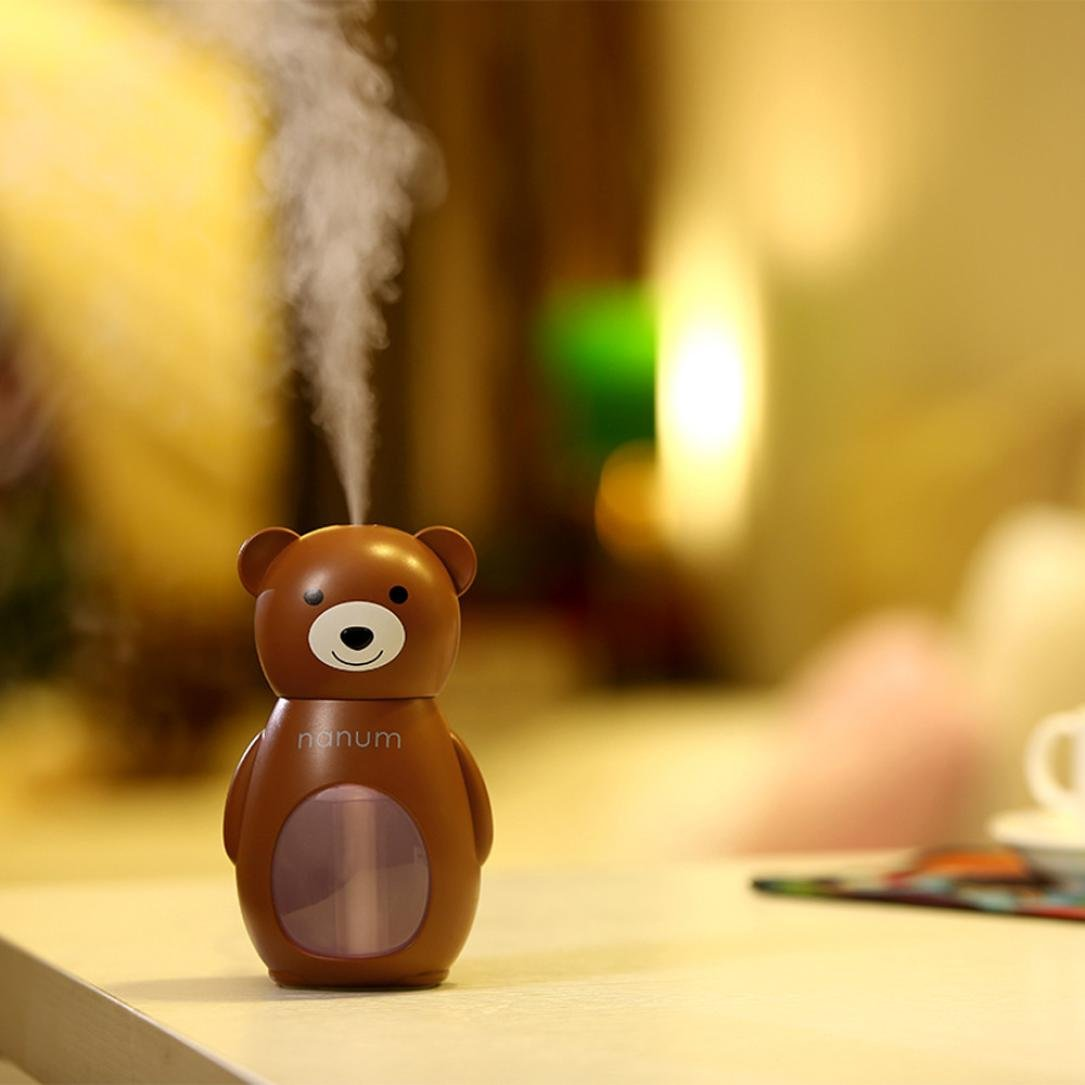 Coerni 150ml Cute USB LED Glowing Humidifier for Car, Office, Home (Brown)