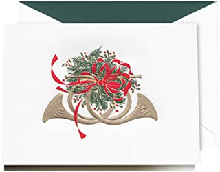 product image for Crane & Co. Festive French Horns Greeting Card, 10 Cards, 10 Envelopes (KN9505V)