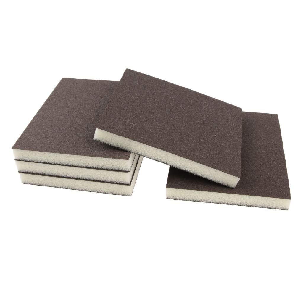 B Blesiya 5 Pcs Coarse/Medium Grit Sanding Sponge Grey Small Area Polishing, 150 Grit, 2 sides abrasive grain coated