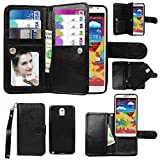 Samsung Galaxy Note 3 III Case, xhorizon TM Premium Leather Folio Case [Wallet Function] [Magnetic Detachable] Fashion Wristlet Lanyard Hand Strap Purse Soft Flip Book Style Multiple Card Slots Cash Compartment Pocket with Magnetic Closure Case Cover Skin ZA5 for Samsung Galaxy Note 3/III (N9000) - Black