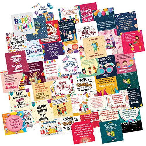 ODDCLICK Set of 48 Birthday Cards for Explosion Box or Other DIY(Do It Yourself) Birthday Greeting Cards 3X3 Inches Greeting Card