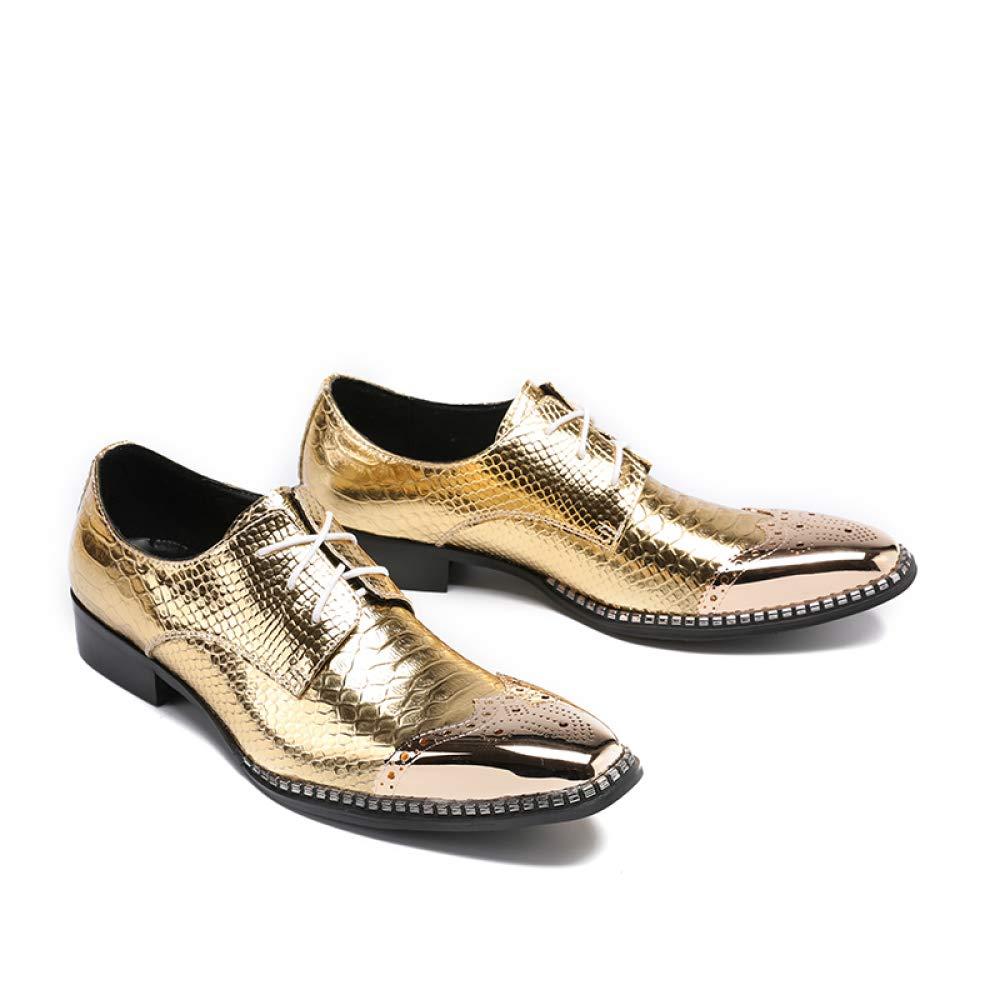 GLSHI Männer Wiesen Derby-Schuhe Neuheit Stadium Schuhe Goldene Beiläufige Beiläufige Beiläufige Art Und Weise Persönlichkeit Partei Schuhe Brogue Niedrighackige Hochzeitsschuhe 405961