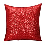 Susenstone Solid Color Glitter Sequins Throw Pillow Case Cafe Home Decor Cushion Covers (Red )
