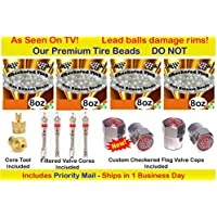 Checkered Flag Tire Beads, no lead and no damage tire beads, 4- 8oz bags of tire balancing beads with filtered valve cores, red caps, 1 gold core tool w/ our white smooth tire balance beads