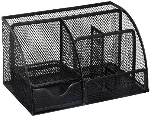 Greenco Mesh Office Supplies Desk Organizer Caddy, 6 Large, Black