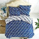 EsyDream Ocean Shark Kids Duvet Cover Sets,Queen Twin Size Blue Ocean Shark Boys Bedding Sets,Cotton & microfiber (No Comforter),Twin Size (4pc Set)