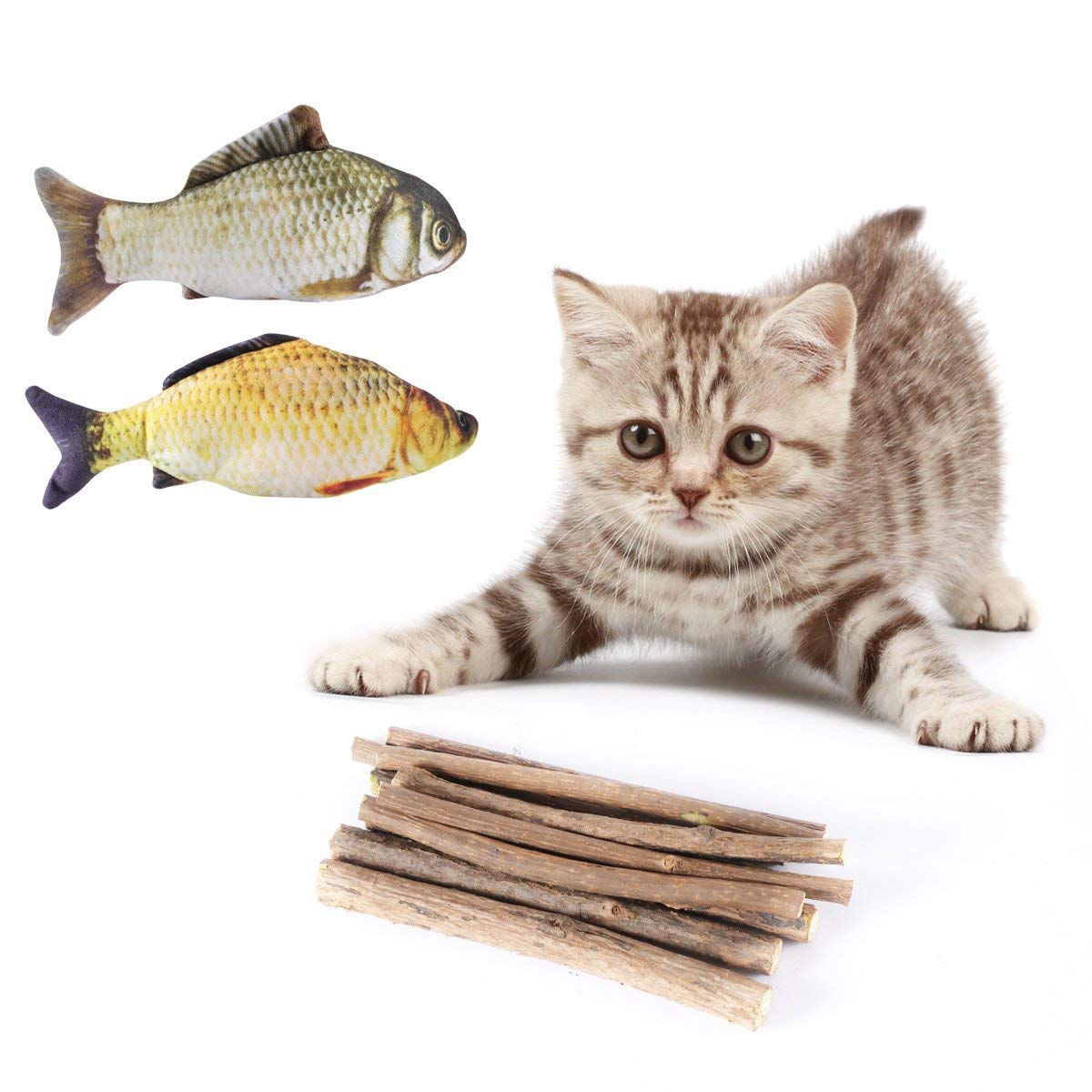 Catnip ToysAieve 10 Pack Catnip Toys for CatsCat Natural Matatabi Chew Sticks Teeth Grinding Chew Toy Cat Molar Toothpaste Stick with 2 Pack Cat Toys Catnip Fish
