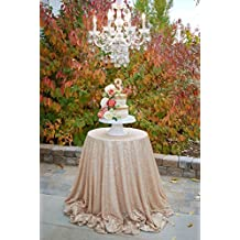 "TRLYC 50"" Round Champagne Sequin Table Cloth for Wedding Party"