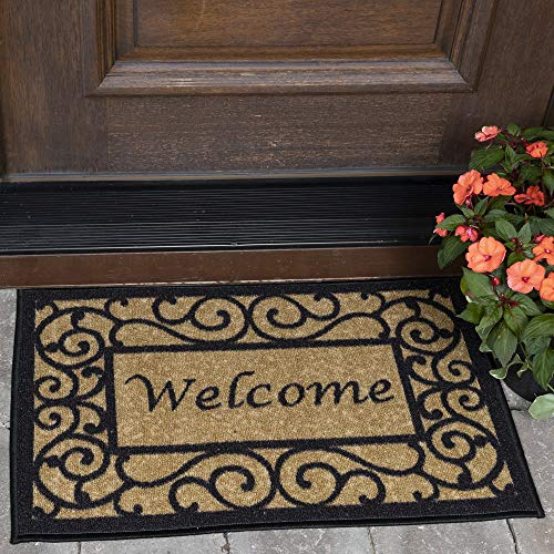 """Ottomanson Ottohome Collection Non-Slip Rubber Backing Rectangular Welcome Print Indoor and Outdoor Doormat, 20"""" X 30"""", Beige"""