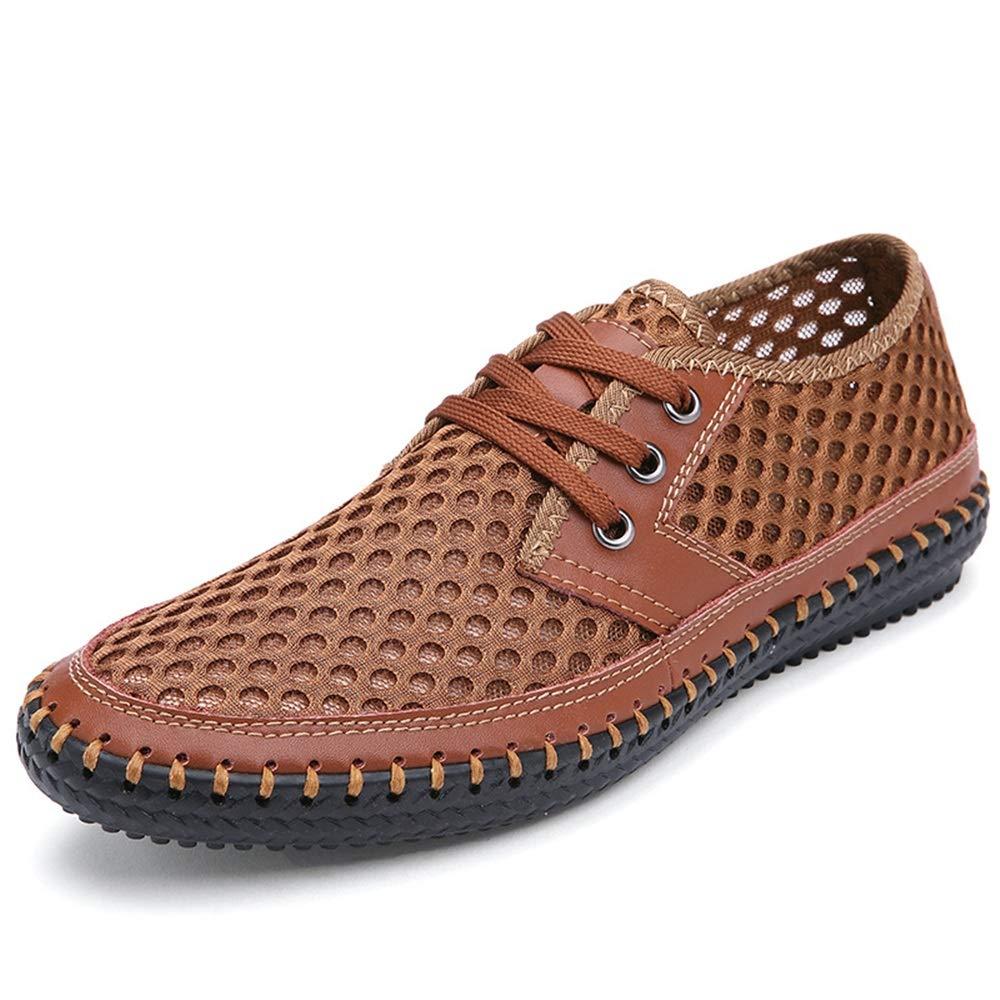 Fuxitoggo Große Breathable Sich Schuhe für Männer schnüren Sich Breathable heraus höhlen echtes Leder bequemes Derby aus (Farbe : Grün, Größe : EU 40) Orange 5310fd