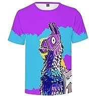 Fnite T-Shirts   Compression Tshirts   3D Print Funny T-Shirt Llama Crew Neck Battle Royal Zombie Raven Slurp   Dry Fit