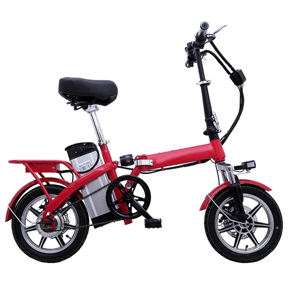 折り畳みEバイク、大人の道の電気バイク、取り外し可能な大容量のリチウムイオン電池(48V 250W)が付いている電気マウンテンバイク、電気バイク3つの作業モード,赤,10A 赤 10A