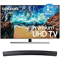 "Samsung QN65Q9F Flat 65"" QLED 4K UHD 9 Series Smart TV 2018 Bundle with Samsung Sound+ Premium Curved Soundbar (HW-MS6500/ZA) + 1 Year Extended Warranty"