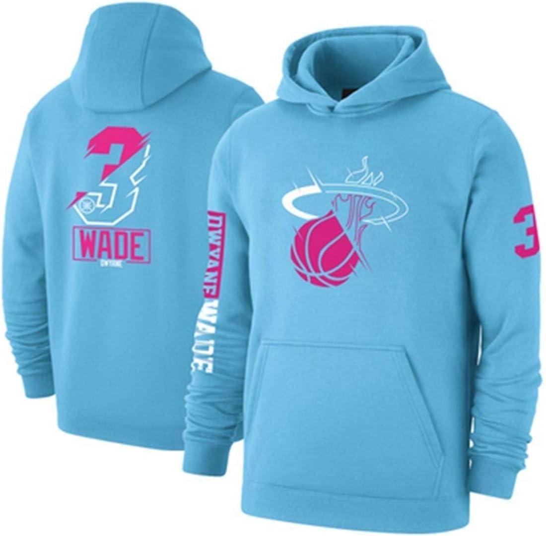 Color : Blue, Size : S Gflyme Ropa de Baloncesto Flojos con Capucha de Baloncesto Miami Heat Jersey No.3 Weide Espesado Sudadera Camiseta de la NBA de los Hombres de