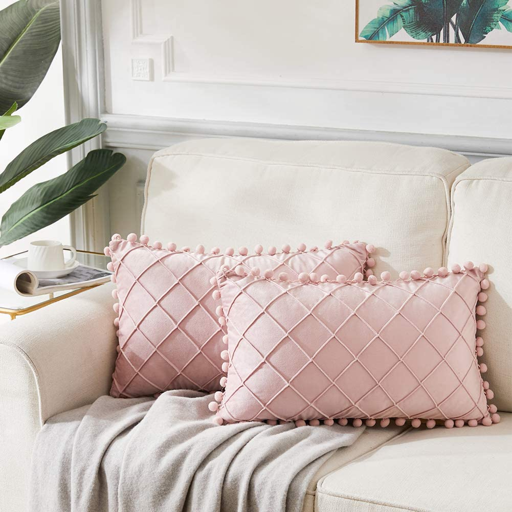 Andaot 2 Packs Boho Decorative Throw Pillow Covers with Pom-poms, Soft Velvet Plaid Lumbar Cushion Cases Set for Living Room/Couch/Bed, Modern Farmhouse Decor (12x20 Inch/30x50 cm, Blush Pink)