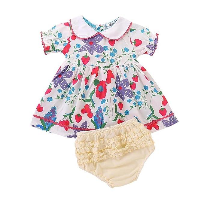 484ba1396 Amazon.com  Wesracia Summer Girls Print Doll Collar Dress + Shorts ...