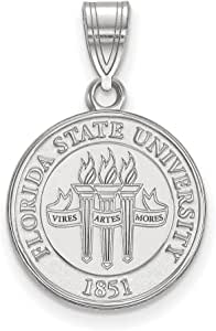 925 Sterling Silver Rhodium-plated Laser-cut Iowa State University Medium Disc Pendant