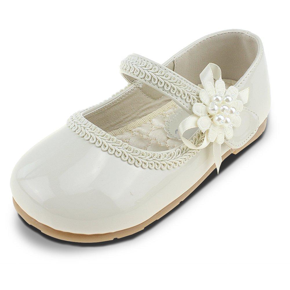 Chiximaxu Maxu Kid Girl's Uniform Dress Marry Jane Ballerina Flats,Toddler 5.5M